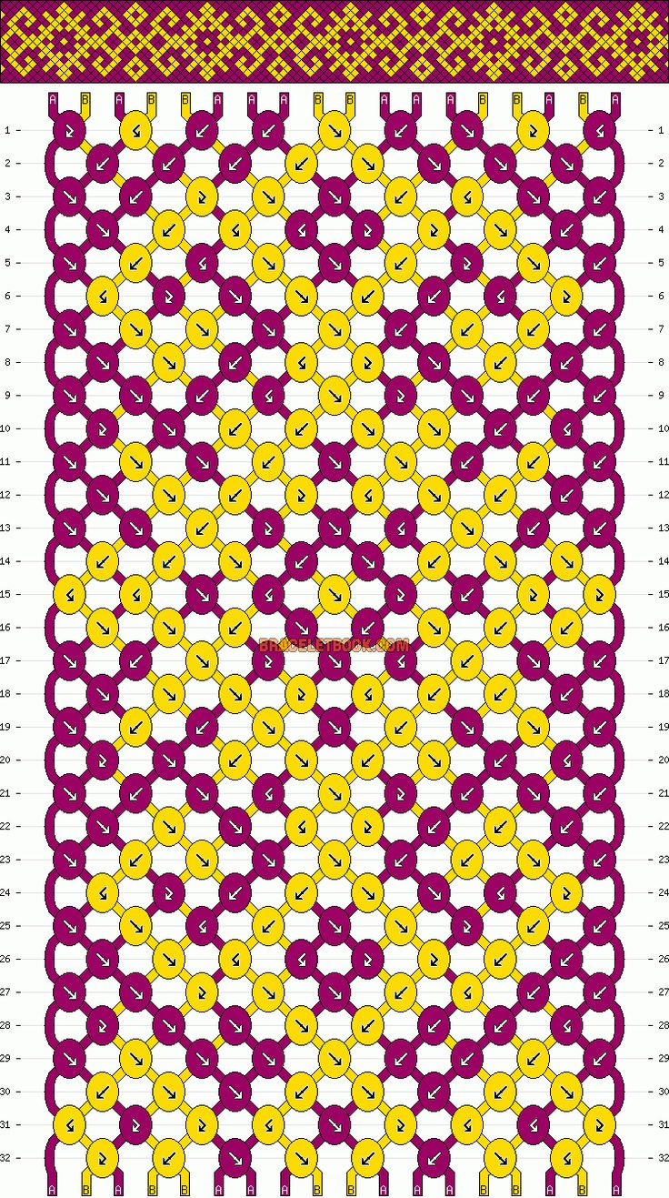 Normal Friendship Bracelet Pattern #10189 - BraceletBook.com