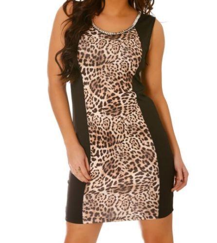 Robe-Noire-effet-bi-matiere-imprime-Leopard