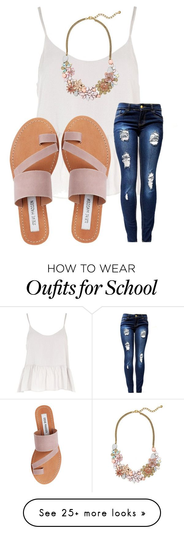 """i've been so busy with school !!"" by emi-elephant on Polyvore featuring Topshop, BaubleBar and Steve Madden"