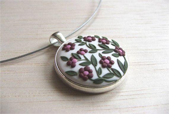 Polymer Clay Flower Necklace Rustic Jewelry by VintageFloralJewel