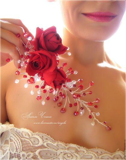 Купить или заказать Красные розы. Украшение в прическу невесты в интернет-магазине на Ярмарке Мастеров. Необычная заколка для украшения свадебной прически, сделанная на заказ. Веточки здесь выполнены из ювелирной посеребренной проволоки, а крупные пышные розы - из фоамирана. Такие цветы очень хорошо сочетаются и с веточками из ювелирной проволоки, и со сверкающими бусинами. При исполнении на заказ размер роз или их цвет может быть любым. И, конечно, вместо роз могут быть любые другие цветы.