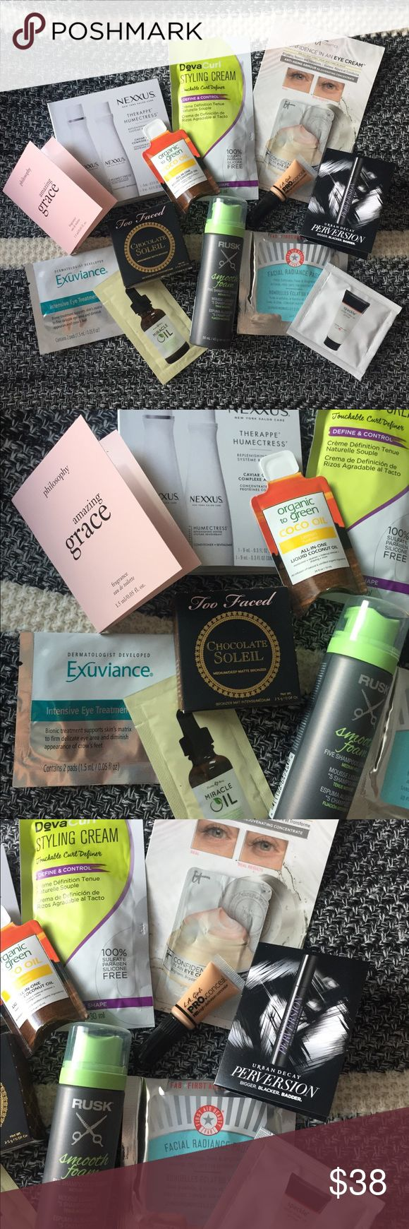 13 Piece Beauty Sampler Bundle BRAND NEW - RUSK Smooth Foam Hair Product, Nexxus Therappe Set, Philosophy Amazing Grace Perfume, First Aid Beauty Facial Radiance Pads, Miracle Oil, Exuviance Eye Masque, DevaCurl Styling Cream, Urban Decay Perversion mascara, LA Girl ProConceal, Too Faced Chocolate Soleil bronzer, Laura Geller Spackle primer, Organic to Green Coconut Oil, IT Cosmetics Confidence in an Eye Cream + Velour Ulta Makeup Bag NWT • Ask all questions before buying! Too Faced Makeup