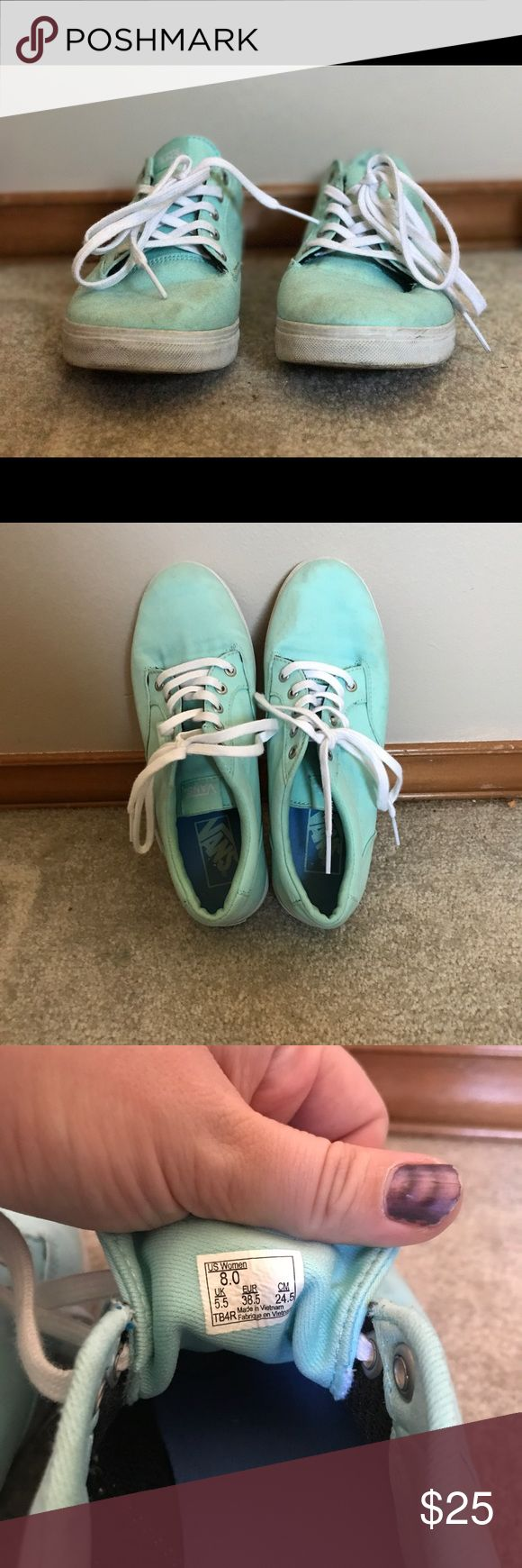 🎄Tiffany blue vans Worn just a few times so integrity is great just needs a wash! Size 8 with the plush tops Vans Shoes Sneakers