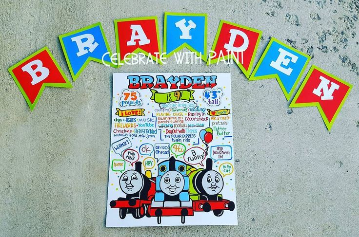Banner pieces & #BirthdayStats poster for a #ThomasTheTrain fan!! LIKE #CelebrateWithPaint on Facebook! 🎨🚂 . . #Art #Paint #Painter #Maker #Handmade #WallArt #WordArt #Handlettered #PhotoProps #BirthdayParty #PartyDecorations #PartyDecor #PartyBanner #Trains #Thomas #Percy #Keepsake