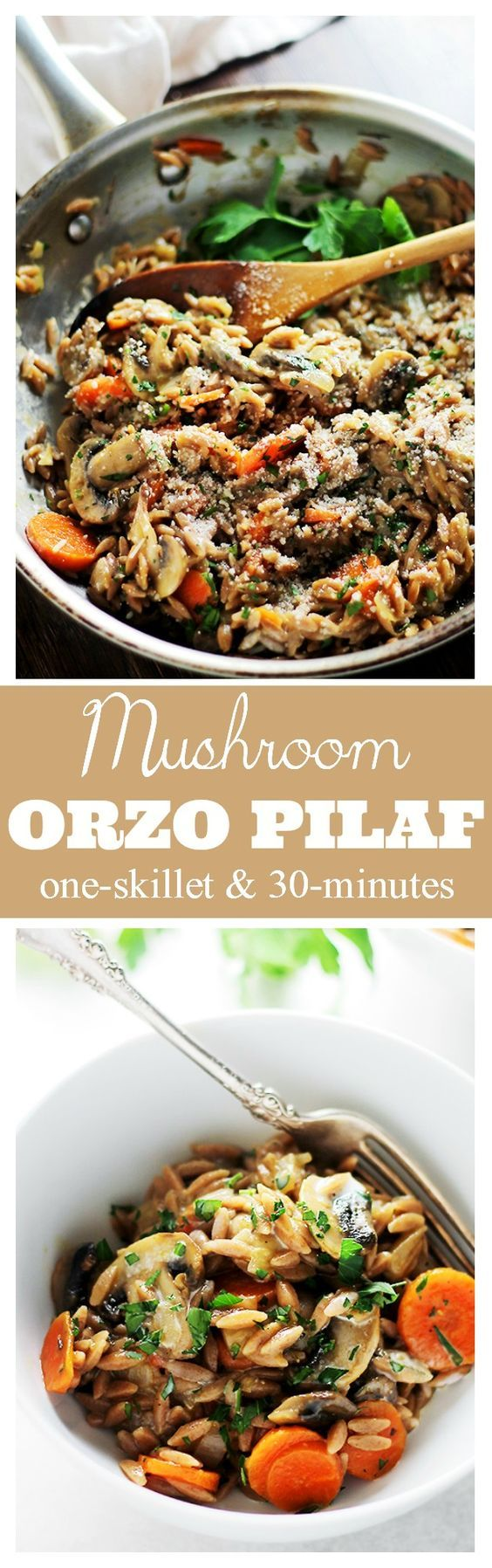 Mushroom Orzo Pilaf - Quick, creamy and delicious one-pot pilaf with orzo and mushrooms.