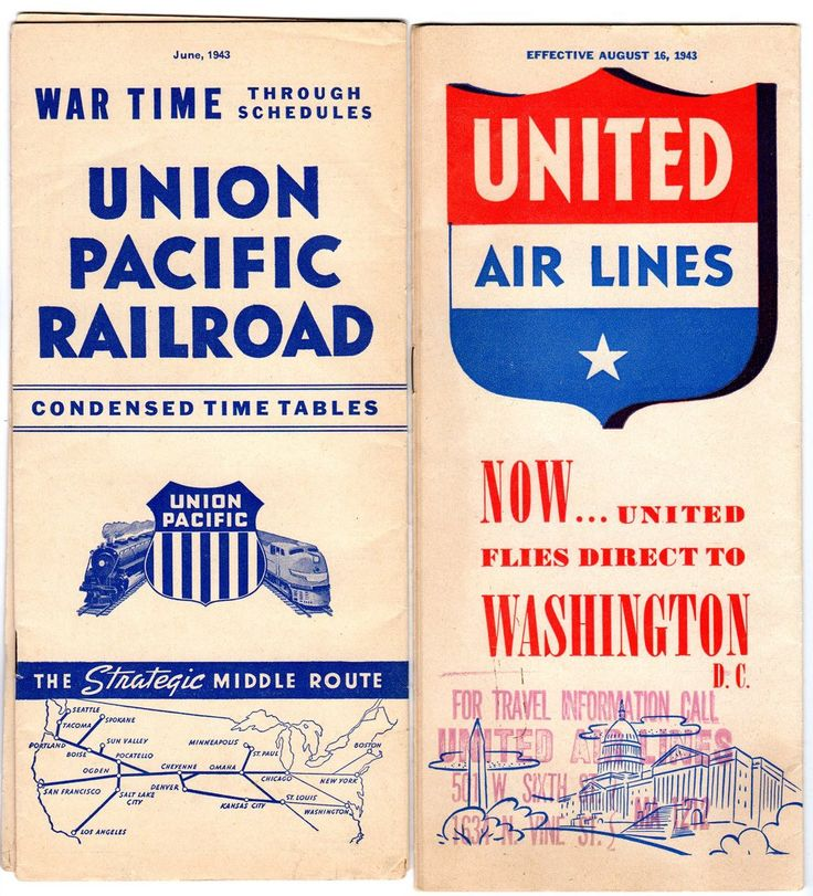 World War II era railroad schedules: August 16, 1943 United Airlines schedule and June, 1943 Union Pacific Railroad Schedule. Both are in good condition.