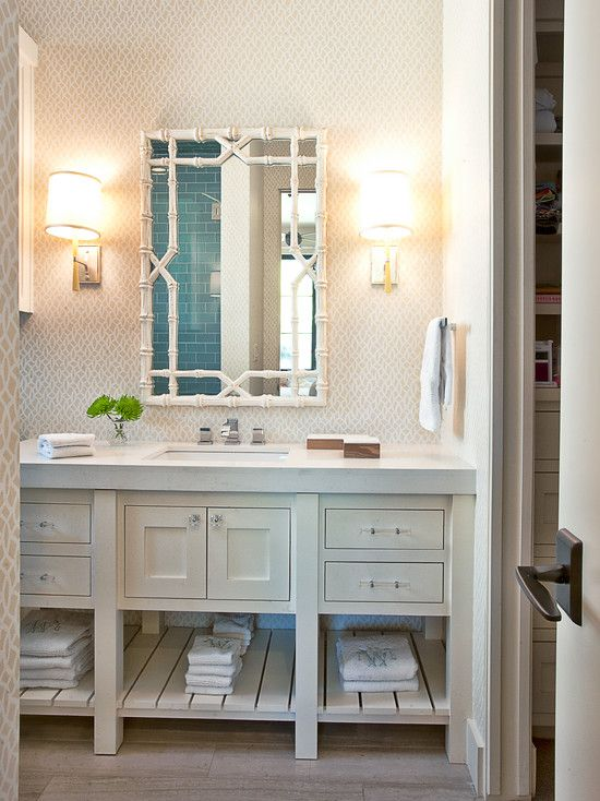 Glynis Wood Interiors   Neutral Trellis Wallpaper, White Bamboo Mirror,  Contemporary White Footed Vanity