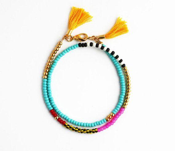 Beaded Wrap Bracelet  Tribal Bracelet  Tassel door feltlikepaper 21,16 etsy