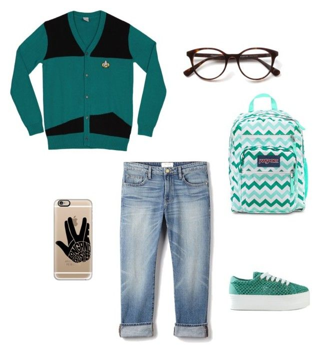 """""For everything, there is a first time."""" by cata-caicedo on Polyvore featuring moda, Frame Denim, Jeffrey Campbell, JanSport y Casetify"