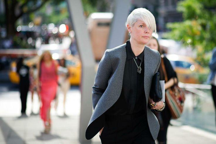 New York Fashion Week SS14 | Kate Lanphear in een prachtige grijze blazer zonder kraag