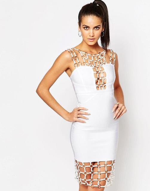 Wow Couture - Chain Detail Bandage Midi Dress - White