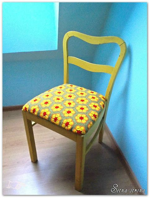 African flower motif crochet seat chairs