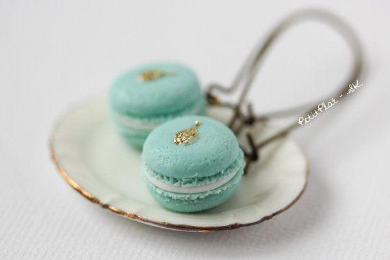 Macaron Earrings  Mint & Gold Tears  Pastries from by PetitPlat, €22.00