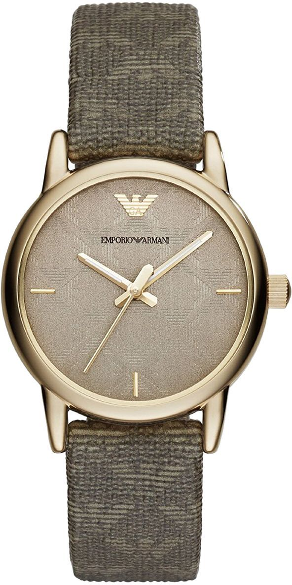Emporio Armani Women's Grey Dial Leather Band Watch - AR1838