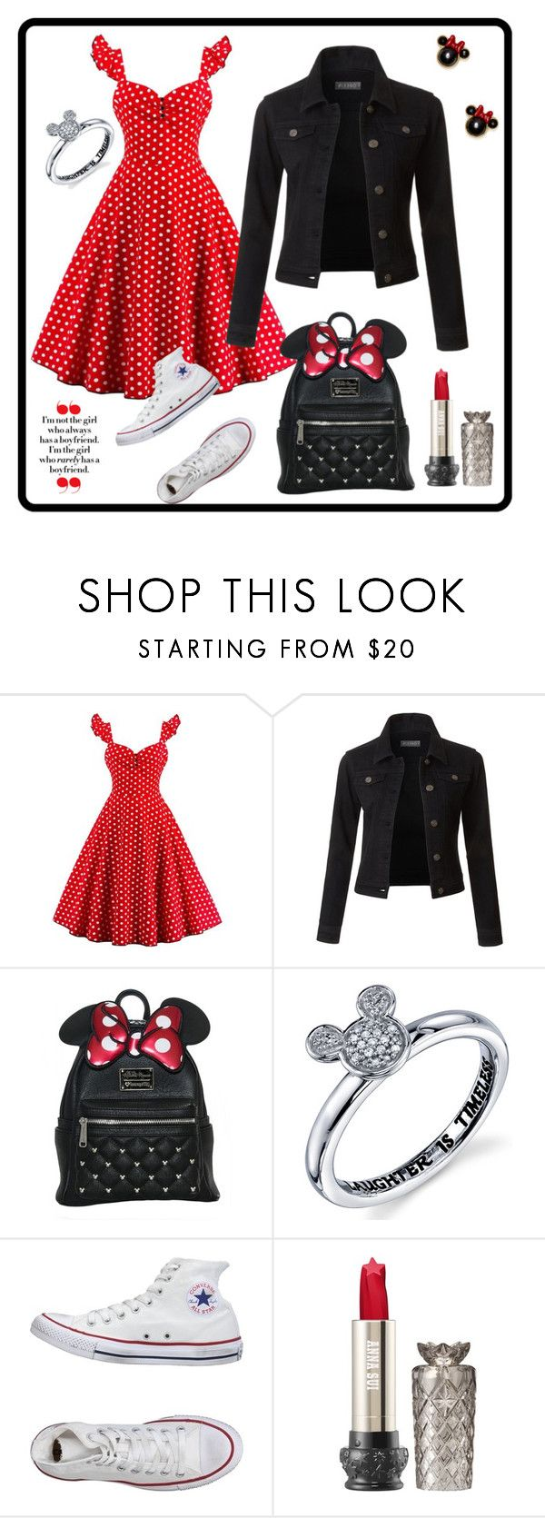 """""""Minnie in School"""" by bearigodon ❤ liked on Polyvore featuring LE3NO, Disney, Converse and Kate Spade"""