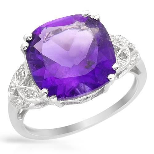 Size 10. Wonderful ring with genuine amethyst and diamonds beautifully crafted in 925 sterling silver. Total item weight 3.7g. http://www.idealsmarter.com/?refid=31593e9f