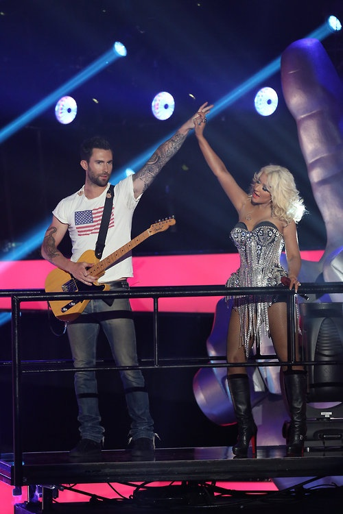 Adam Levine and Christina Aguilera looking fierce during a super secret opening performance on #TheVoice!