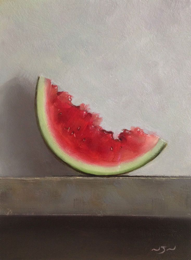 Original Oil Painting - Watermelon - Contemporary Still Life Art - Nelson