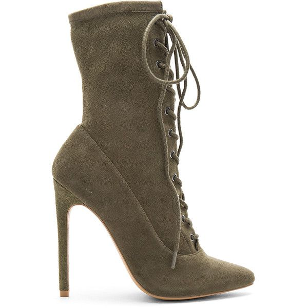 Steve Madden Satisfied Bootie ($140) ❤ liked on Polyvore featuring shoes, boots, ankle booties, booties, lace up ankle bootie, high heel booties, lace-up bootie, faux suede lace-up booties and laced up ankle boots