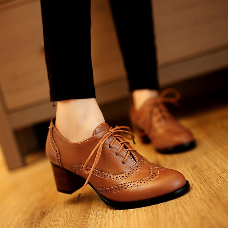 Top Womens Brogue Lace Up Low Thick Heel Oxfords Retro Boat Shoes US Size 5-11
