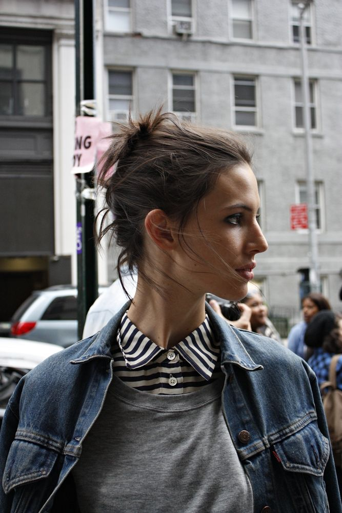 Fashion, Jeans Jackets, Ruby Aldridge, Street Style, Collars, Stripes Shirts, Denim Jackets, Casual Looks