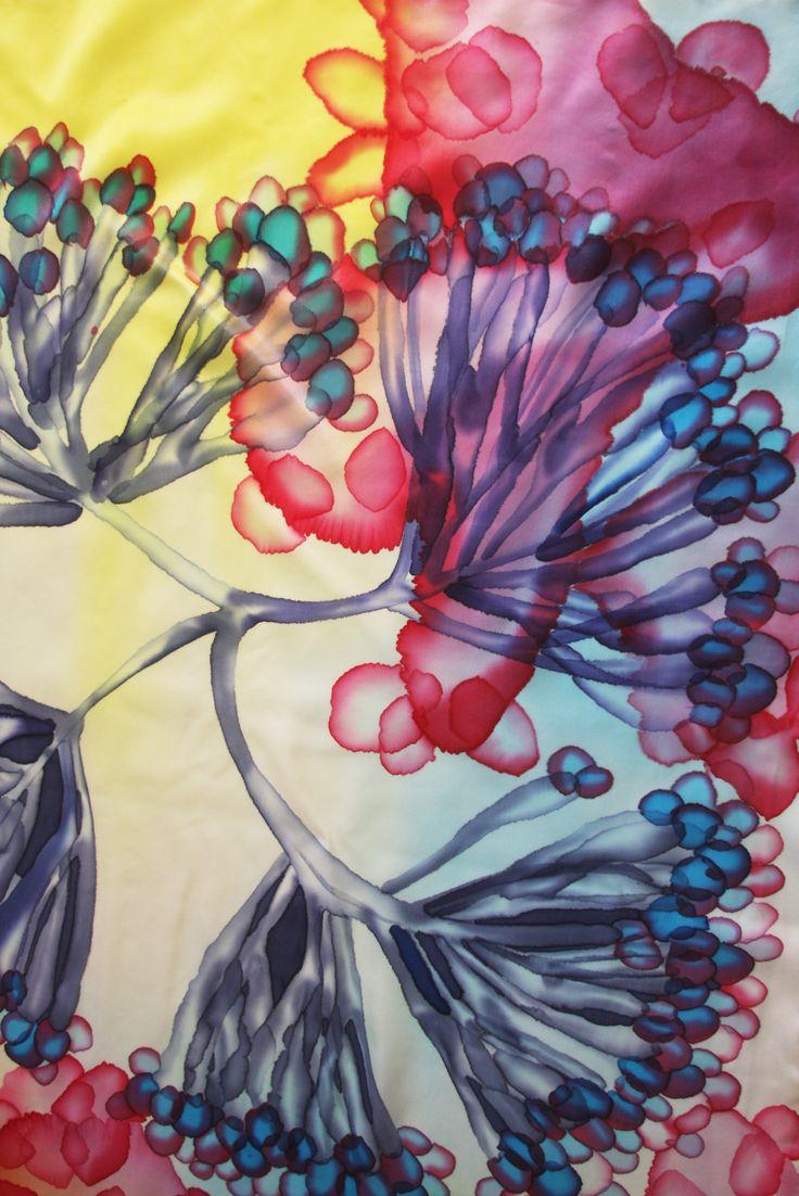 Silk Square Scarf - Abstract floral painting by VIDA VIDA LAJnG8n0