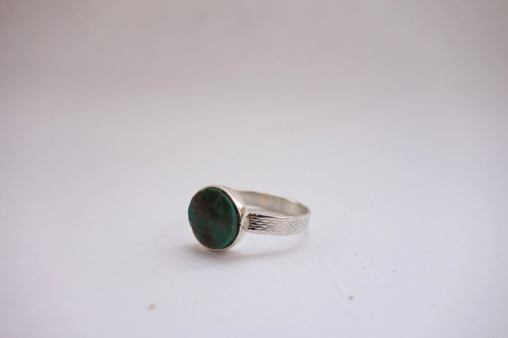 Sterling silver round aple turquoise ring by Picossa on Etsy