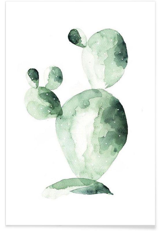 Cactus Friend als Premium Poster von Annet Weelink Design   JUNIQE