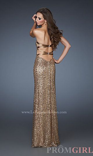 Strapless Sequin Long Dress for Prom by La Femme