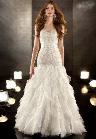 Silk Organza fit-and-flare designer bridal gown has a Swarovski crystal and diamante adorned bodice and frothy organza skirt.