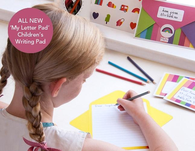 Girl Writing on new KatyJane Letter Writing pad www.katyjane.com.au