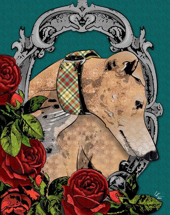 RosesPop Art, 11X14, Greyhounds Art, Style Art, Dogs Art, Art Prints, Dog Art, Greyhounds Pop, Victorian Style