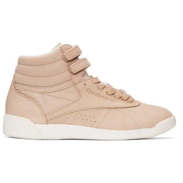 Reebok Classics Pink FACE Edition Freestyle High-Top Sneakers ($36) ❤ liked on Polyvore featuring shoes, sneakers, pink, pink shoes, reebok shoes, pink sneakers, velcro high tops and velcro shoes