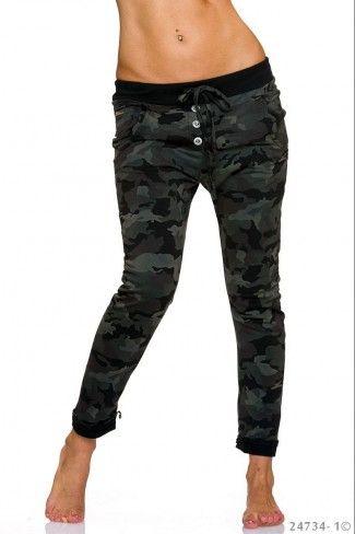 Army look παντελόνι βράκα - Μαύρο Καμουφλάζ