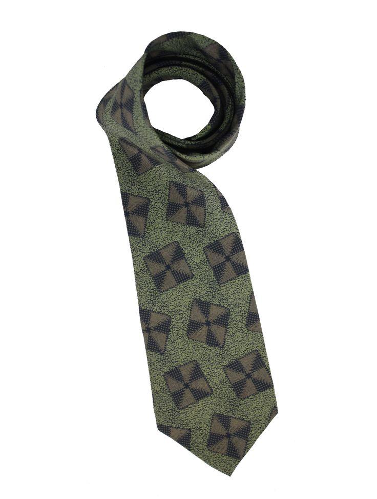 Emporio Armani Vintage silk tie. Made in Italy, square print, 100% silk