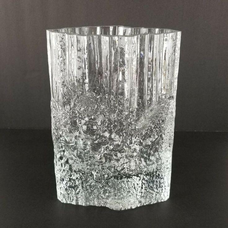Vintage Iittala Ice Glass Vase Tapio Wirkkala Heavy
