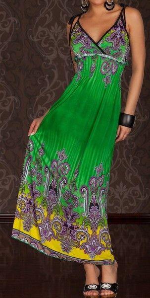 Lightweight Summer Fleur Green Maxi Dress