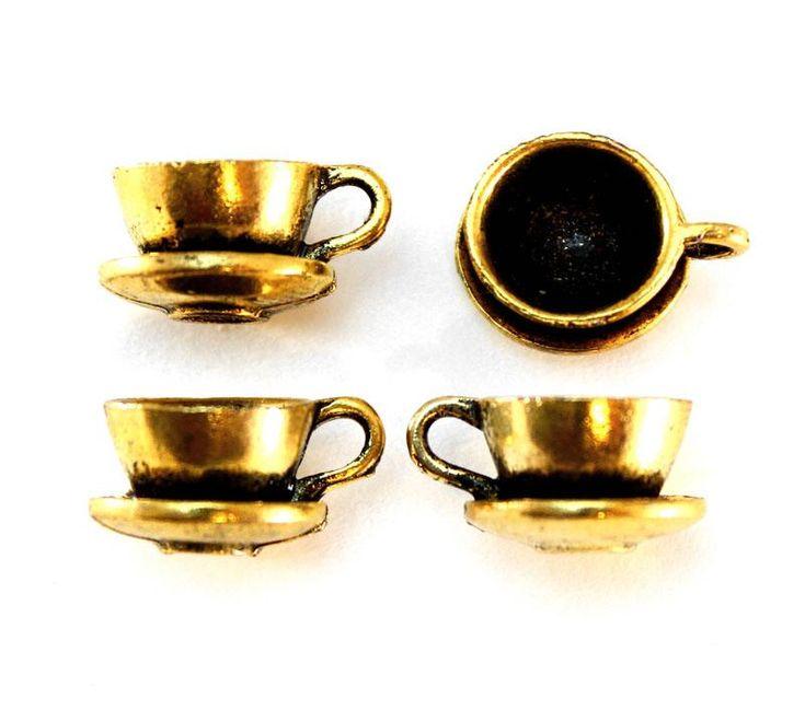 Teacup Charms - Antique Gold