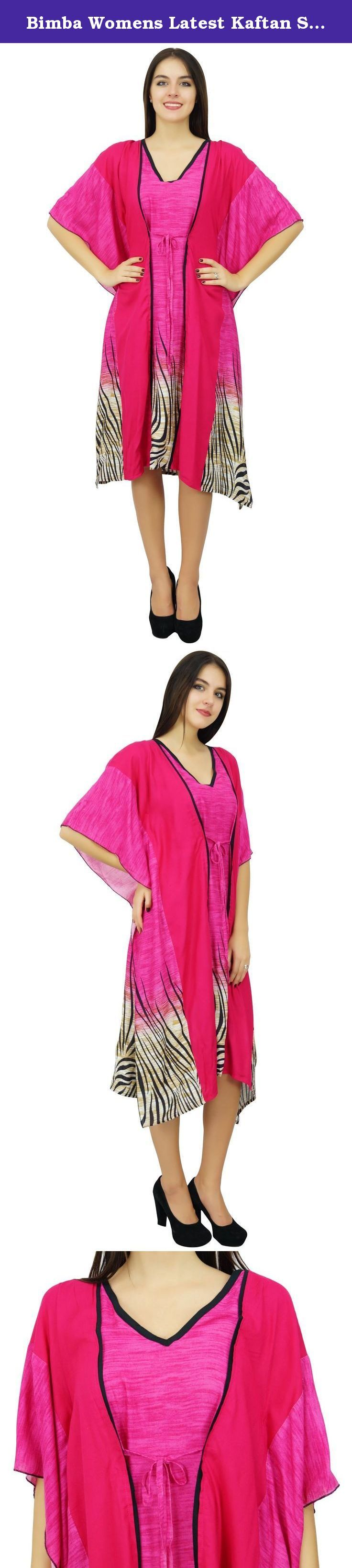 Bimba Womens Latest Kaftan Swimsuit Cover Up Pink Beach Caftan Knee Length Dress. Pink in Color this kaftan is made from Rayon fabric which is very soft and comfortable on skin. The kimono sleeves and and beautiful Animal print makes the kaftan very much classy. Perfect as beach coverup or sleep wear. Sale For: 1 Kaftan Material: Rayon Kaftan Length:44-inches Color: Pink Model Height: 175 Cm Care: * Dry-clean or Hand Wash in cold with mild detergent * Air dry only * Iron it while slightly...