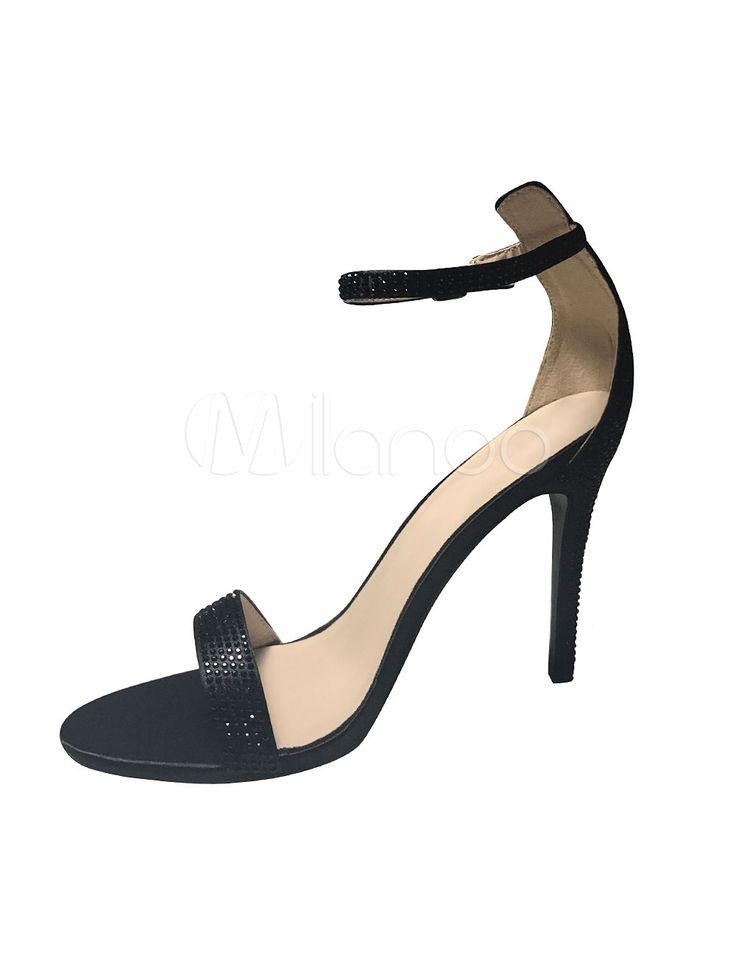 Sexy High Heel Sandals Black Satin Rhinetone Straps Party Heels - boutique.milanoo