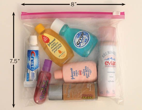 Liquids in containers of 3 ounces or less may be carried in your carry-on bag so long as they are placed in a clear, one-quart plastic bag.