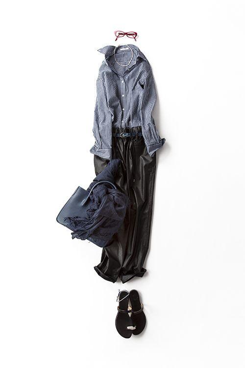 рубашка, широкие брюки, шарф, босоножки