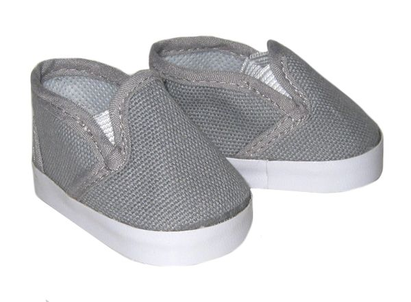 American Boy Doll Shoes.  Silly Monkey - Grey Canvas Slip-Ons, $6.50 (http://www.silly-monkey.com/products/grey-canvas-slip-ons.html)
