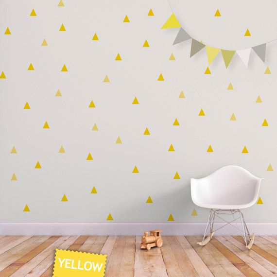 baby wall decal triangle nursery decor wall sticker yellow little peaks children wall decal