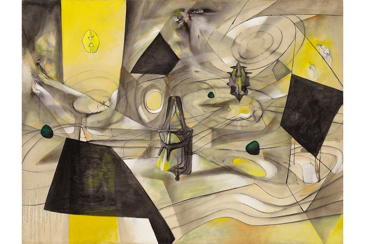 Matta, La revolte des contraires, oil on canvas, 38 x 50 in., 1944