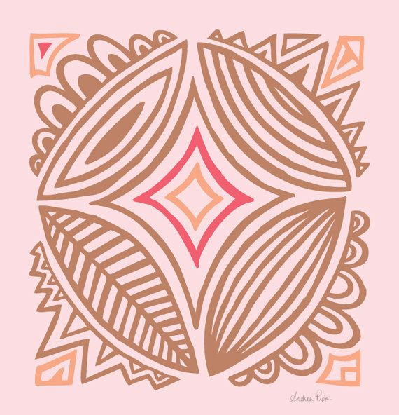 Pink and Warm Gray Abstract Print