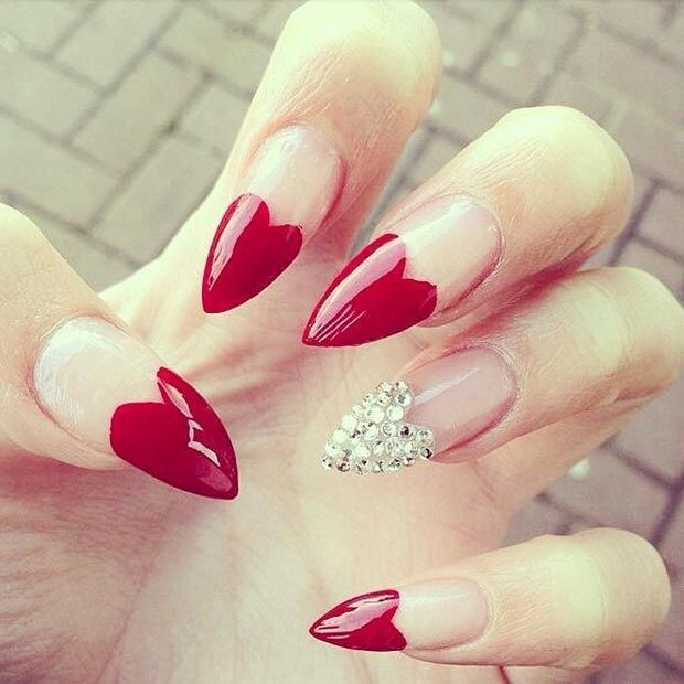 Red Heart Tip Stiletto Nails