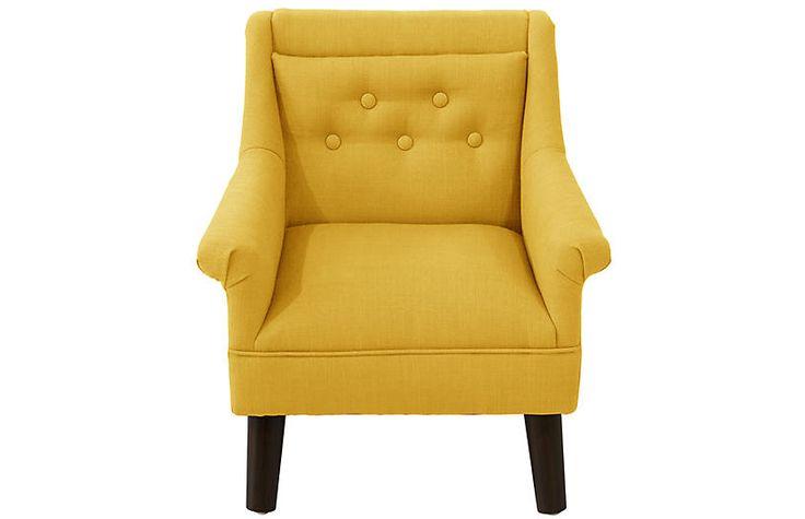 Bella Kids' Accent Chair, Yellow Linen $235.00