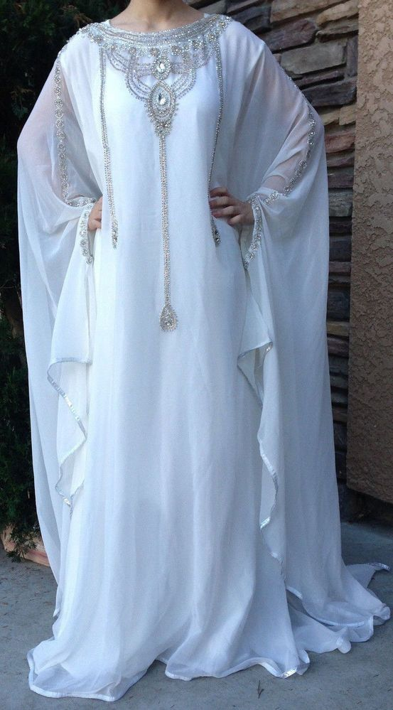 DUBAI VERY FANCY KAFTANS /abaya jalabiya Ladies Maxi Dress Wedding gown earing.