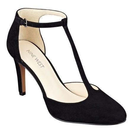 """Classic T-strap pumps with a seductive edge, Halinan is an obvious choice for an infusion of sophistication for an evening out. Ankle strap closure. Leather or suede upper; simply mouse over your favorite color for upper information. Man-made lining and sole. Imported. 3 1/2"""" high heels."""